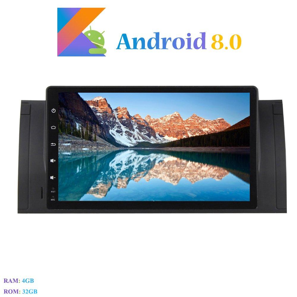 Hi-azul 9 Pouces 1 Din Car Radio 8-Core RAM 4G ROM 32G Car Audio R/écepteur de Radio de Voiture St/ér/éo Voiture pour BMW X5-E53// BMW 5-E39 Android 8.0 Autoradio avec Cam/éra de Recul et DVR