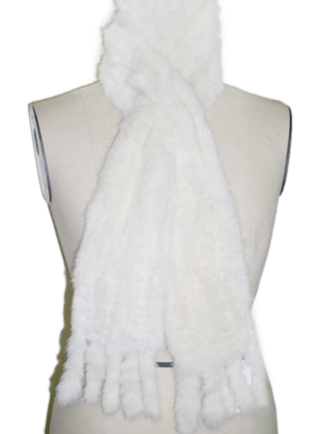 Long Ivory Knitted Mink Scarf