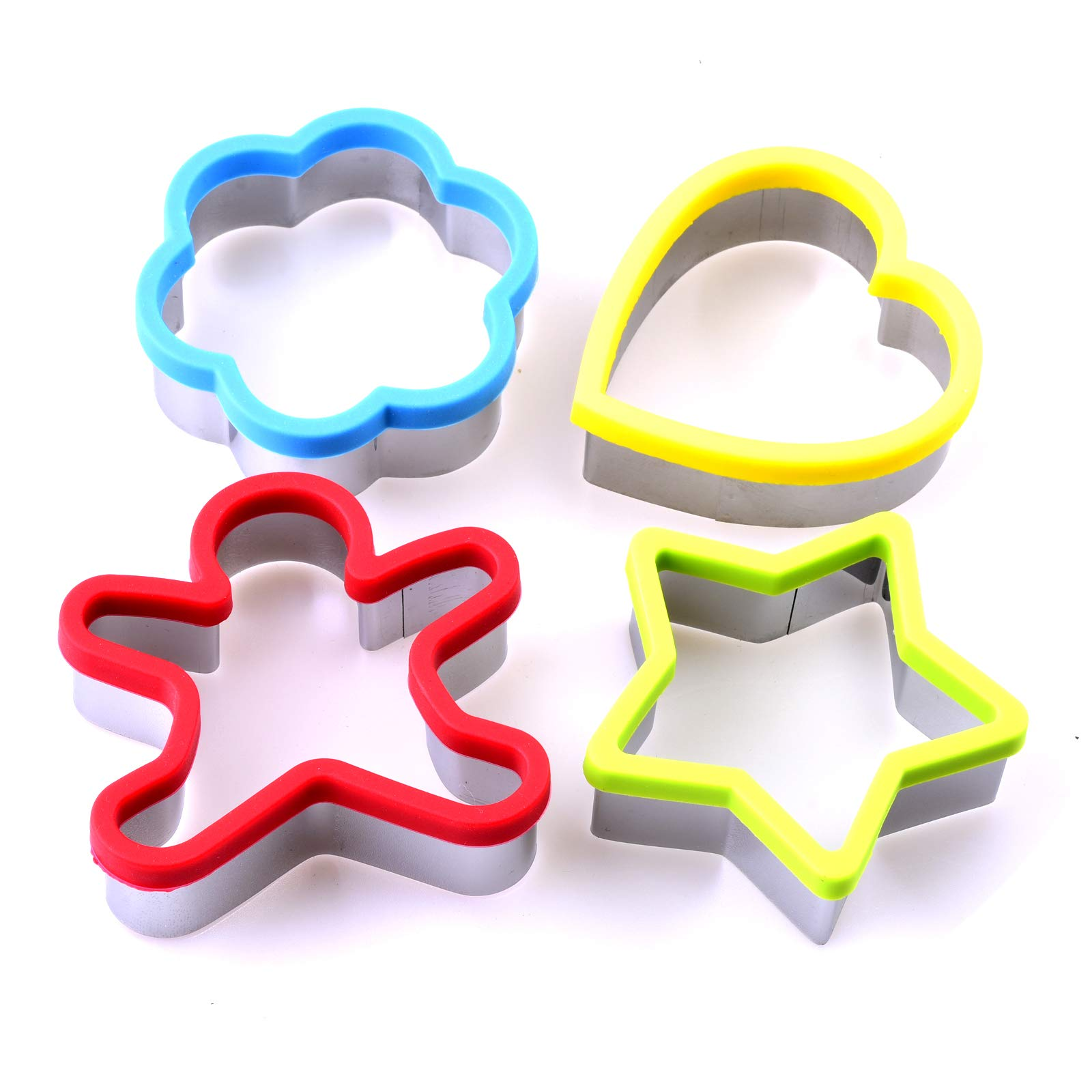 BWD Cookie Cutters Set 4 Pcs Stainless Steel Silicone Heart Star Flower Snowman Shaped Mould/Cookie Biscuits Pastry Gingerbread Shortbread