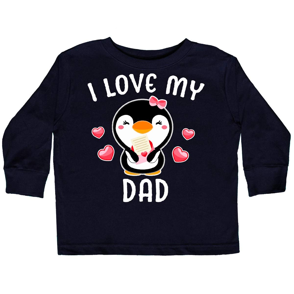 inktastic I Love My Dad with Cute Penguin and Hearts Toddler Long Sleeve T-Shirt