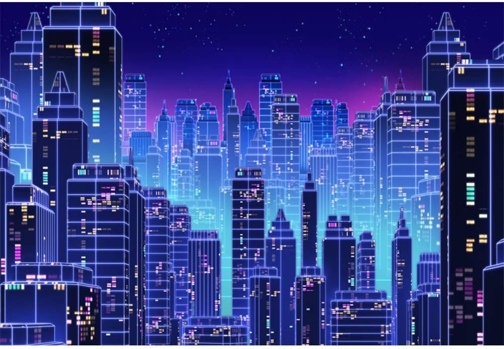 Leowefowa Congested City Skyline Silhouette Backdrop 10x6.5ft Vinyl Cityscape Photography Background Child Adult Selfie Photoshoot Indoor Decors Wallpaper Event Bday Party Banner
