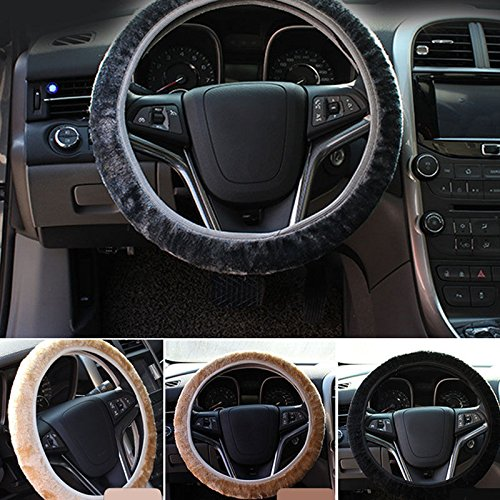 UNAKIM--1x Winter Plush Steering Wheel Cover Car Accessory Grips Auto Solid Black Cover