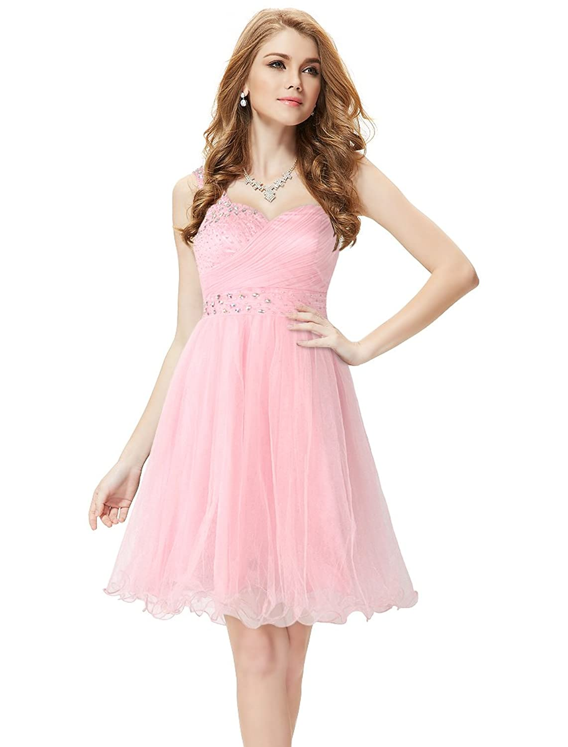 Ever Pretty One Shoulder Pink Short Rhinestones Homecoming Dress 05032