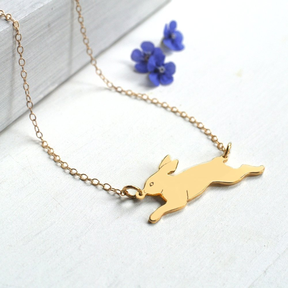 Personalised Gold Running Bunny Rabbit Necklace