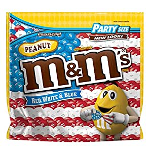 M&M'S 4th of July Red, White & Blue Peanut Chocolate Patriotic Candy Party Size 42-Ounce Bag