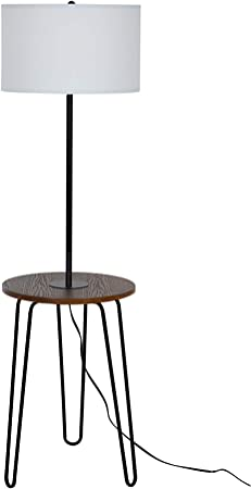 Catalina Lighting 21902 000 Mid Century Modern Floor Lamp With Table And Usb Port 59 Black