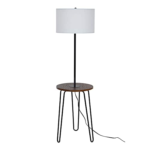 Catalina Lighting 21902-001 Mid-Century Modern Floor Lamp with Table and USB Port, LED Bulb Included, 59 , Black