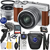Fuji X-A5 Mirrorless Digital Camera w/ XC15-45mm Lens Kit (Brown) + 32GB Memory + K&M Photo Accessory Bundle