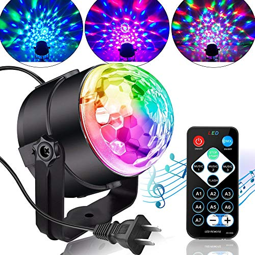 Party Lights Disco Ball Disco Lights, TONGK 7 Colors Dj Lighting Led Strobe Light Sound Activated Stage Lights Effect Dj Equipment With Remote Control with Kids Festival Birthday Xmas Wedding Bar -