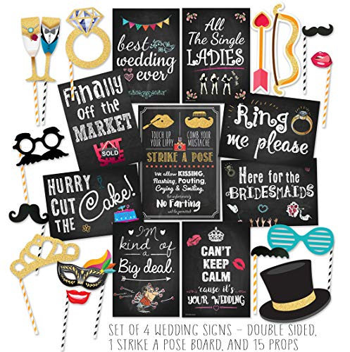 (Curiously Fun Wedding Photo Booth Props DIY Kit, Double Sided Chalkboard Cards and Strike-a-Pose Sign - Party Decorations)