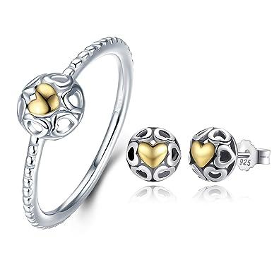 aafde5315b2dd Amazon.com: BAMOER 925 Sterling Silver 14K Yellow Gold Romantic ...