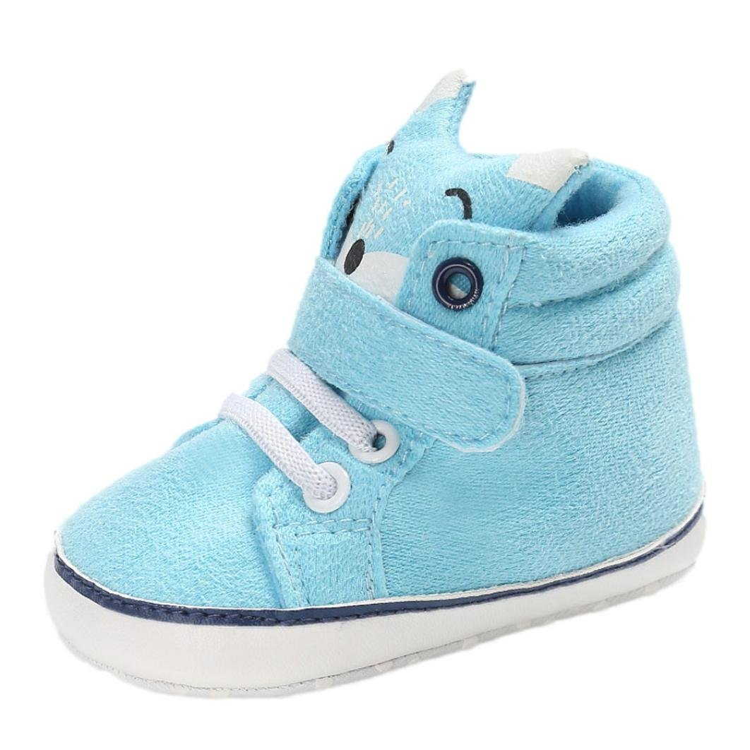 CHshe Newborn Infant High Height Hook & Loop Fox Head Printed Sole Cotton Upper Cloth Baby Sneaker Crib Shoe(0-18 Months)