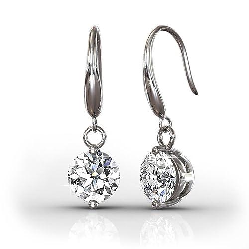 Cate   Chloe Veronica 18k White Gold Dangling Earrings w Swarovski  Crystals 5aaa3756b5b0