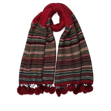 chaussures exclusives premier coup d'oeil bas prix Nyls Création Grande echarpe pompon rouge en laine Lyvak ...