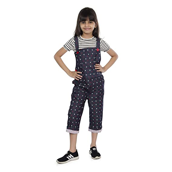 a21494d4fd31f Olele® Printed Dungaree and Jumpsuit for Girls | Full Length Denim Dungaree  for Girls ...