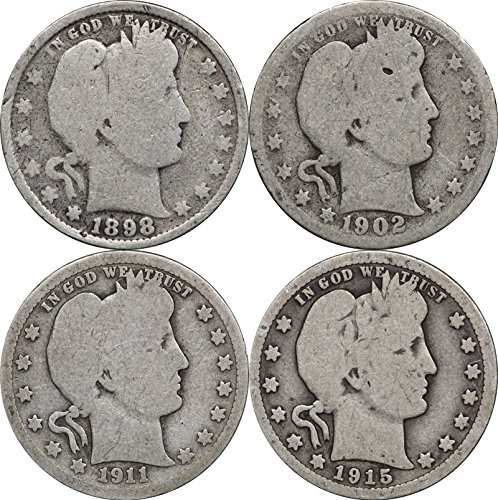 1892-1916 Barber Silver Quarters, 1 Face, 4 Coin Lot
