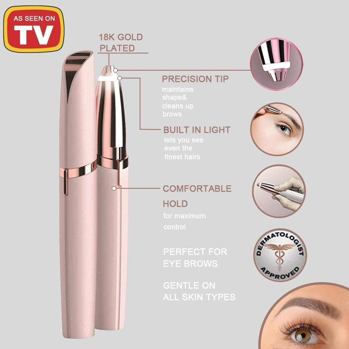 Eyebrow Hair Remover,Uccdo Flawless Brows,Electric Repairing Eyebrow,Eye-brow Trimmer As Seen On TV (White)