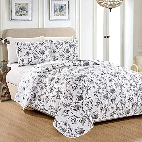 (Great Bay Home Bella Collection 3 Piece Quilt Set with Shams. Reversible Floral Bedspread Coverlet. Machine Washable. (Full/Queen, Charcoal))