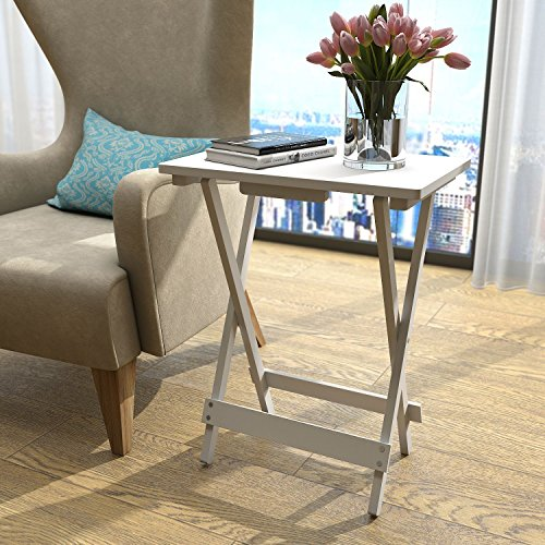 Lifewit Folding Wood TV Tray, Solid Portable Foldable Snack Table Side Table Sofa Table,White by Lifewit (Image #2)