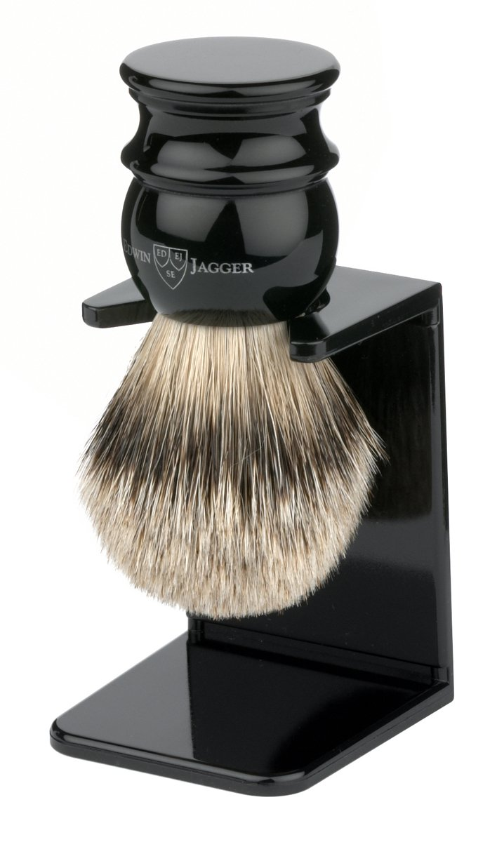 Edwin Jagger Large Silver Tip Badger Hair Shaving Brush With Drip Stand – Black