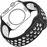 Bracelet pour Apple Watch, Bandmax Band for iWatch Sport TPU Souple Confortable Strap Bracelet de Remplacement Course Léger pour Apple Watch Série 2/Série 1 (Noir/Blanc, 38MM)