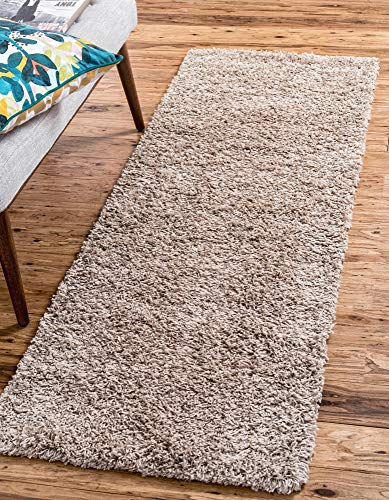 Unique Loom Solo Solid Shag Collection Modern Plush Taupe Runner Rug (2' 6 x 19' 8)