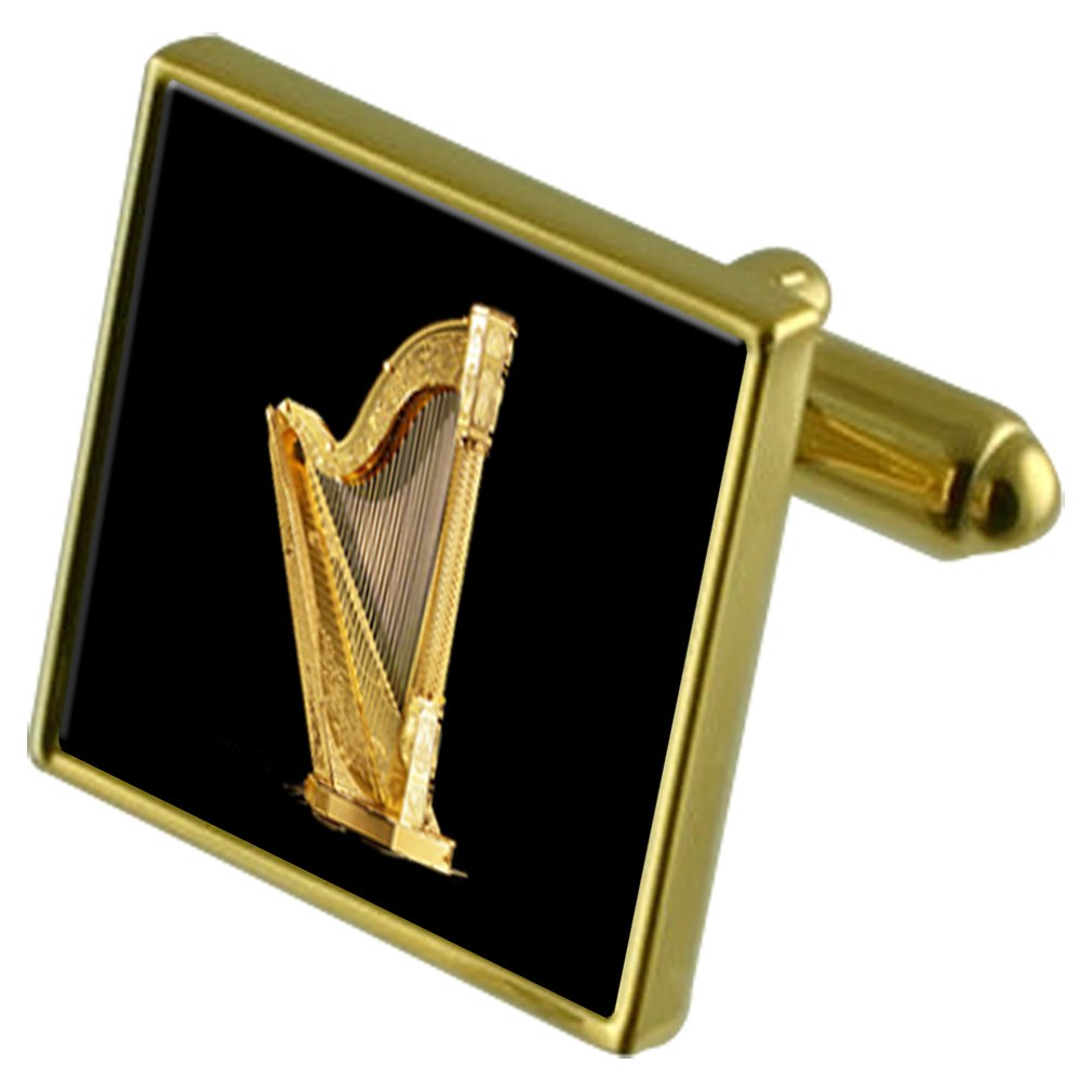 Select Gifts Musical Gold Harp Gold-Tone Cufflinks in Pouch