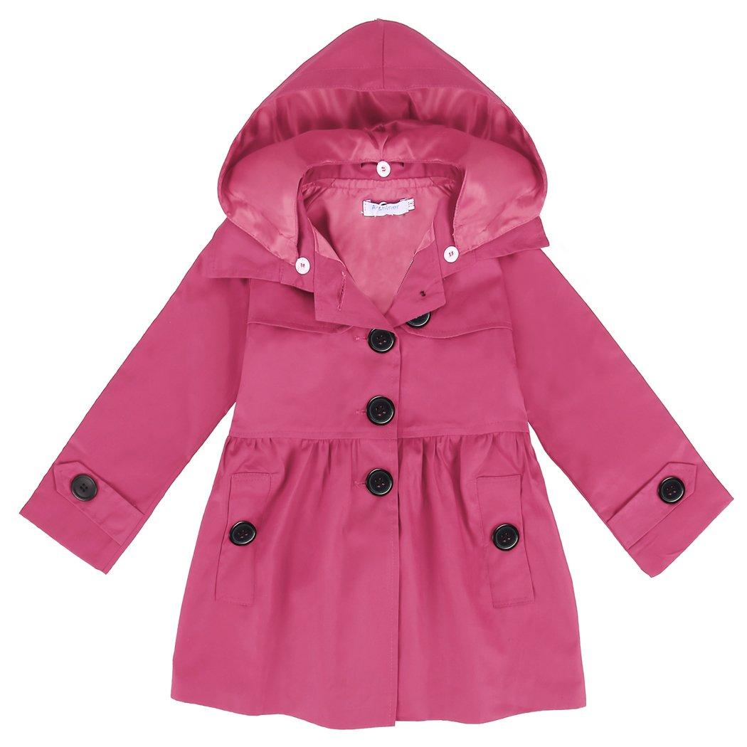 Arshiner Girl Baby Kid Hooded Coat Jacket Outwear Raincoat, Rose Red 120