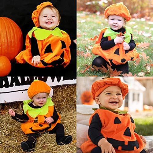 BigOtters Halloween Pumpkin Costume Set, Infant Toddler Halloween Cosplay Cutie Plush Costume Party Favor with Baby Hat, Orange