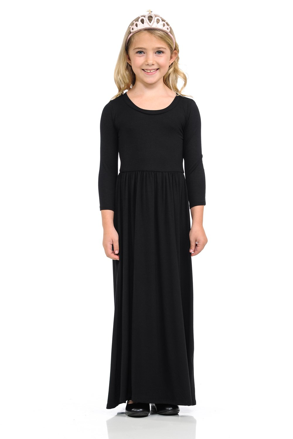 Pastel by Vivienne Honey Vanilla Girls' Fit and Flare Maxi Dress with Easy Removable Label Large 9-10 Years Black by Pastel by Vivienne
