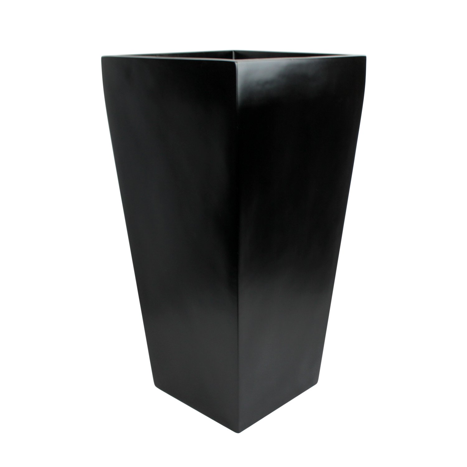 Edinburgh Tall Square Fiberglass Planter (L:15'' x W:15'' x H:30'', Matte Black) by The Fiberglass Depot