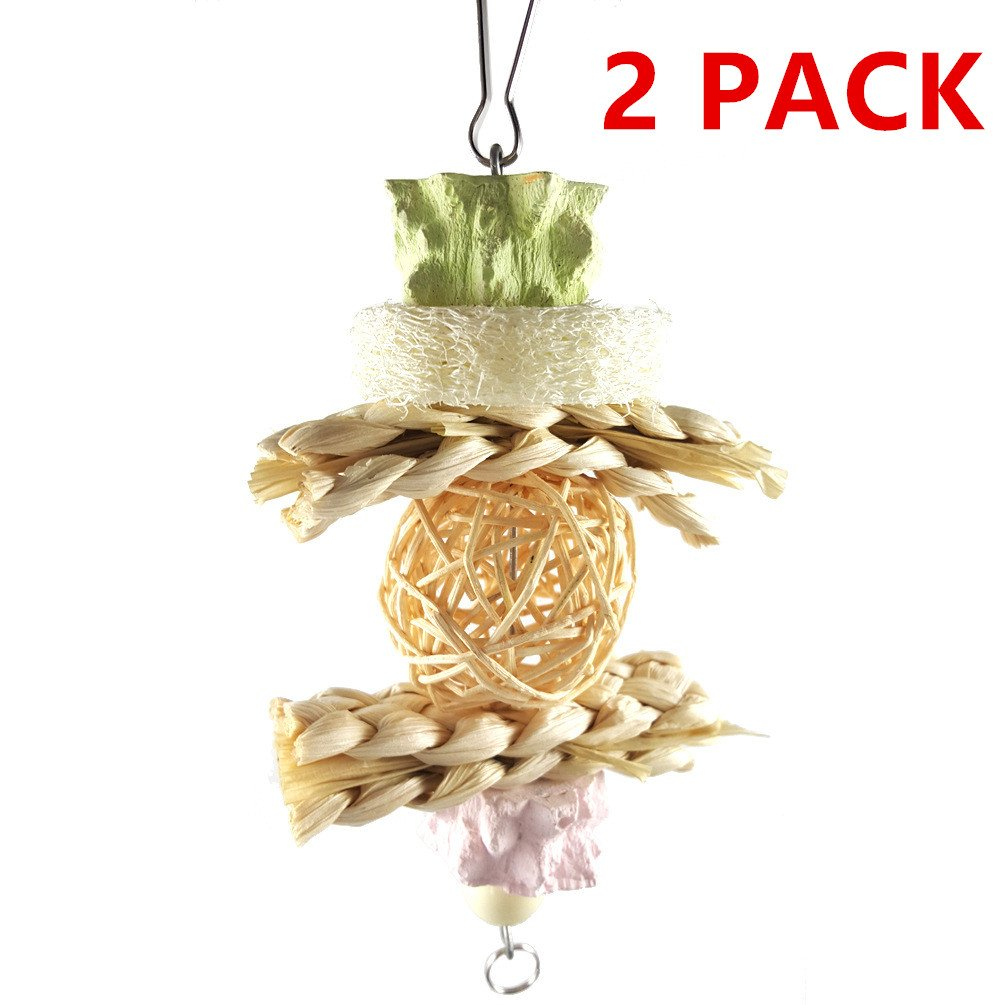 Hypeety Small Animal Teeth Grinding Stones Safe Health Calcium Chew Toy for Parakeets Cockatiels Conures Amazons Hamster Chinchillas Gerbil Rat Mouse Guinea Pig (Pack of 2) (C: Rattan Ball)