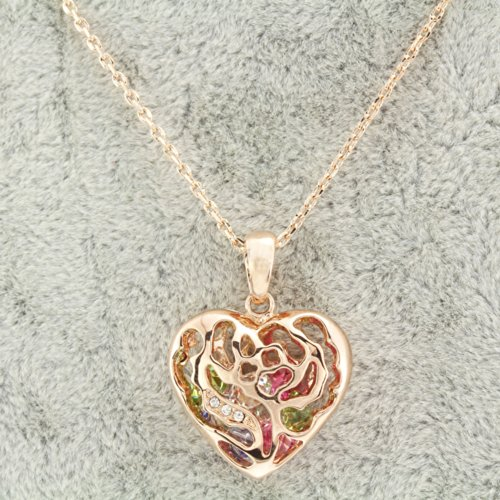 FM42 Clear & Multi Color Crystal Open Heart Pendant Necklace N1003