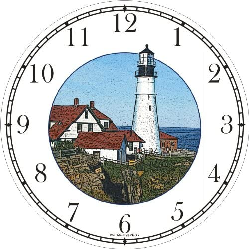 WatchBuddy Maine Light House Lighthouse Wall Clock Timepieces White Frame