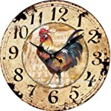 """Schmuckbox 14"""" Antique Style kitchen Clock, 14-inchRooster Vintage Wood Wall Clock with rooster ¡ê¡§R-27¡ê ¡"""