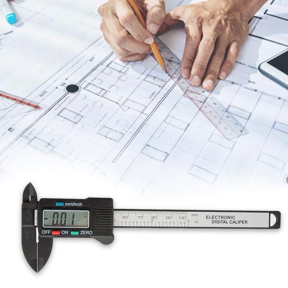 Liukouu 0-100mm 4Digital Messschieber Hochpr/äzise Carbon Fiber Electronic Caliper Schwarz