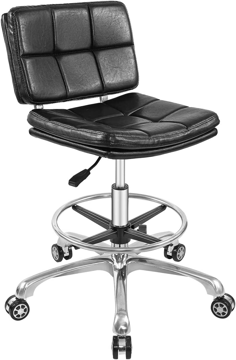 Adjustable Stools Drafting Chair with Backrest & Foot Rest,Peneumatic Lifting Height,for Office Home(Black)