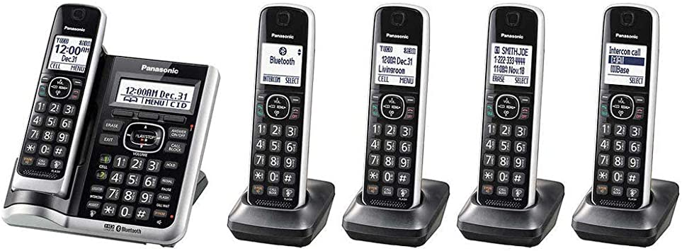 Panasonic KX-TG885SKDECT 6.0 Link2Cell Bluetooth habilitado con llamada ID 5 teléfono inalámbrico (certificado de autenticidad): Amazon.es: Electrónica
