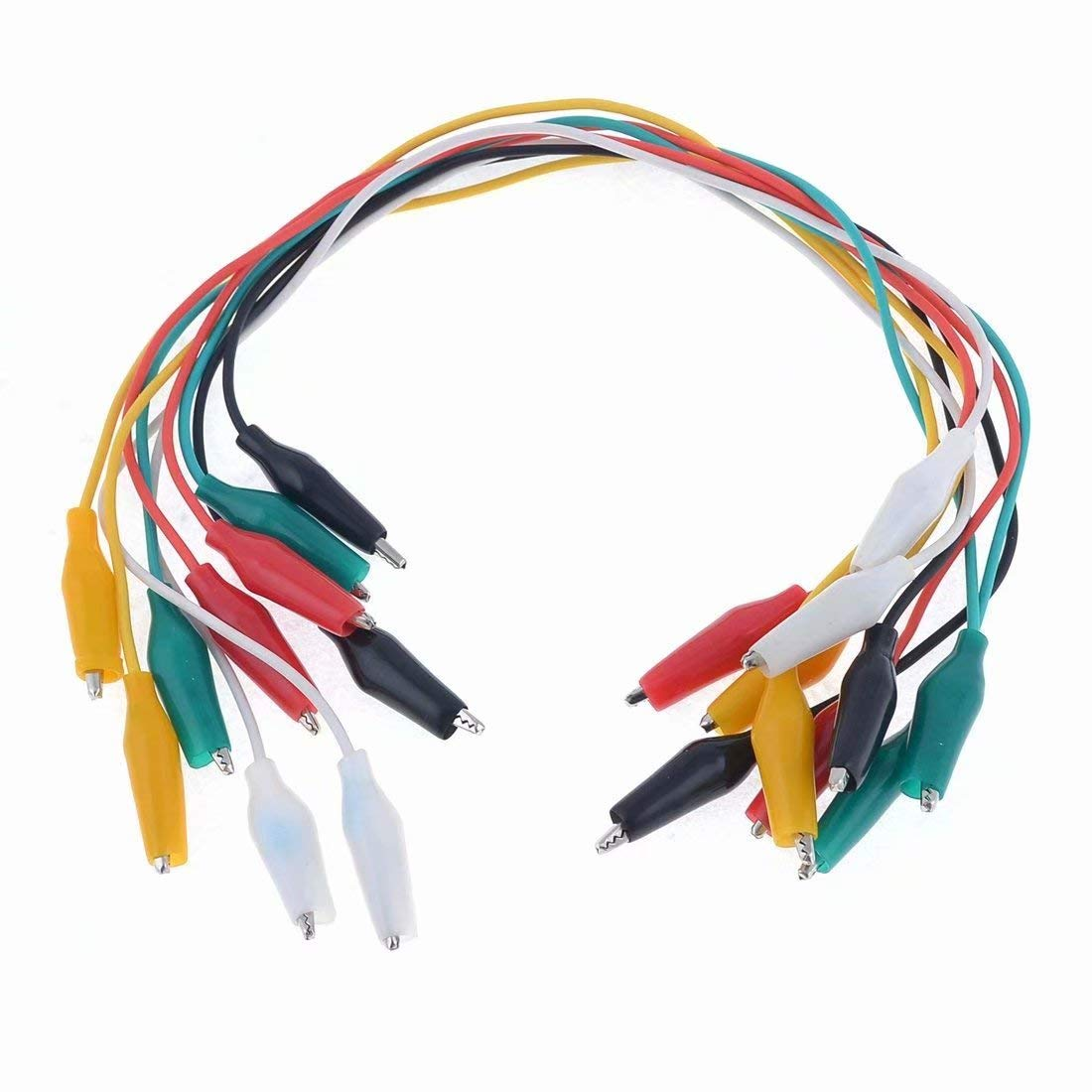 Sandin 10 Pcs Colorful Double Ended Alligator Clips Test Lead Jumper Wires