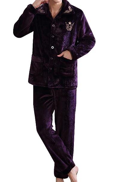 Pijama De Franela Caliente De Los Hombres De Espesor Dos Conjuntos De Chándal,Purple-