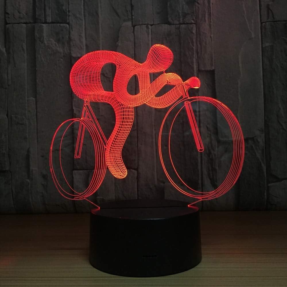 DGTJSISHIJIU Bicicleta 3D Led Lámpara De Noche Luz 7 Cambio De Color Visual Holograma DecoraciónAAA Baterías USB Lámpara De Mesa Regalo para Deportista
