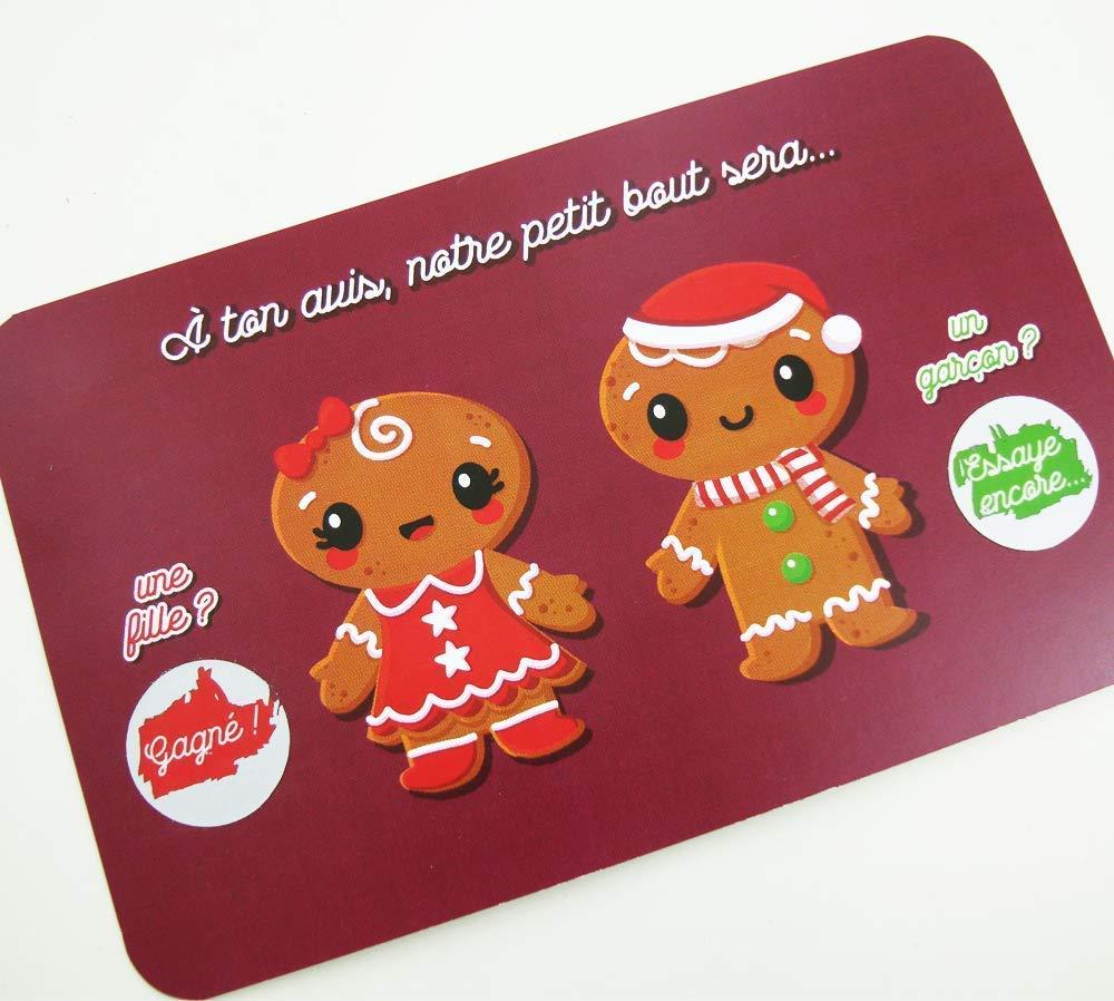 Mini carte /à gratter annonce grossesse bonhomme de pain d/'/épices fille ou gar/çon sexe du b/éb/é