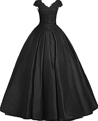 9f6bc5fe0370 Women s Cap Sleeves Satin Prom Ball Gown Lace Long Formal Evening Dresses  Black US2