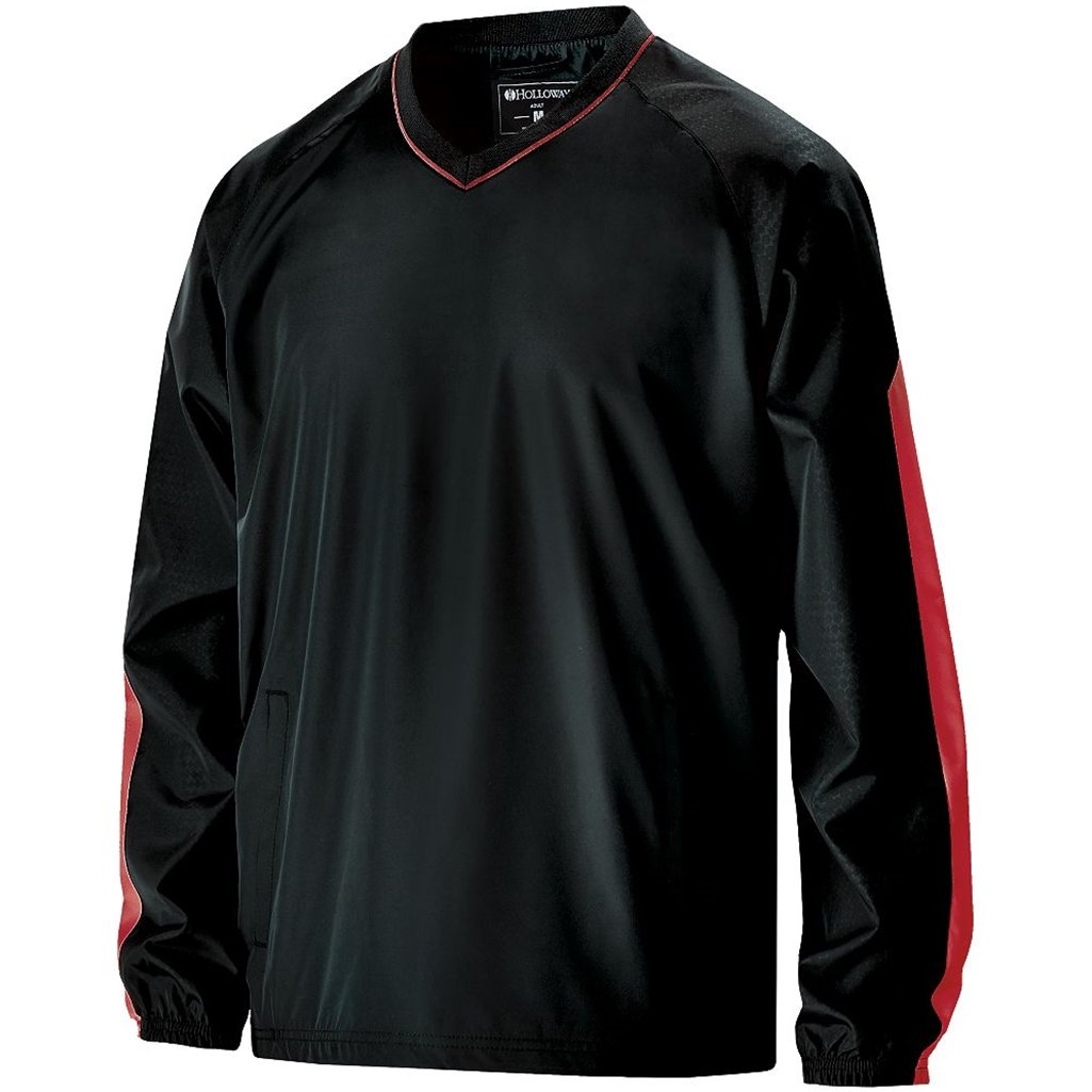 Holloway Youth Bionic Pullover Windshirt (X-Large, Black/Scarlet) by Holloway