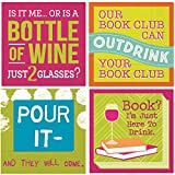 Bookclub Cocktail Napkins Funny Wine Party Phrases Variety Pack 40 total napkins
