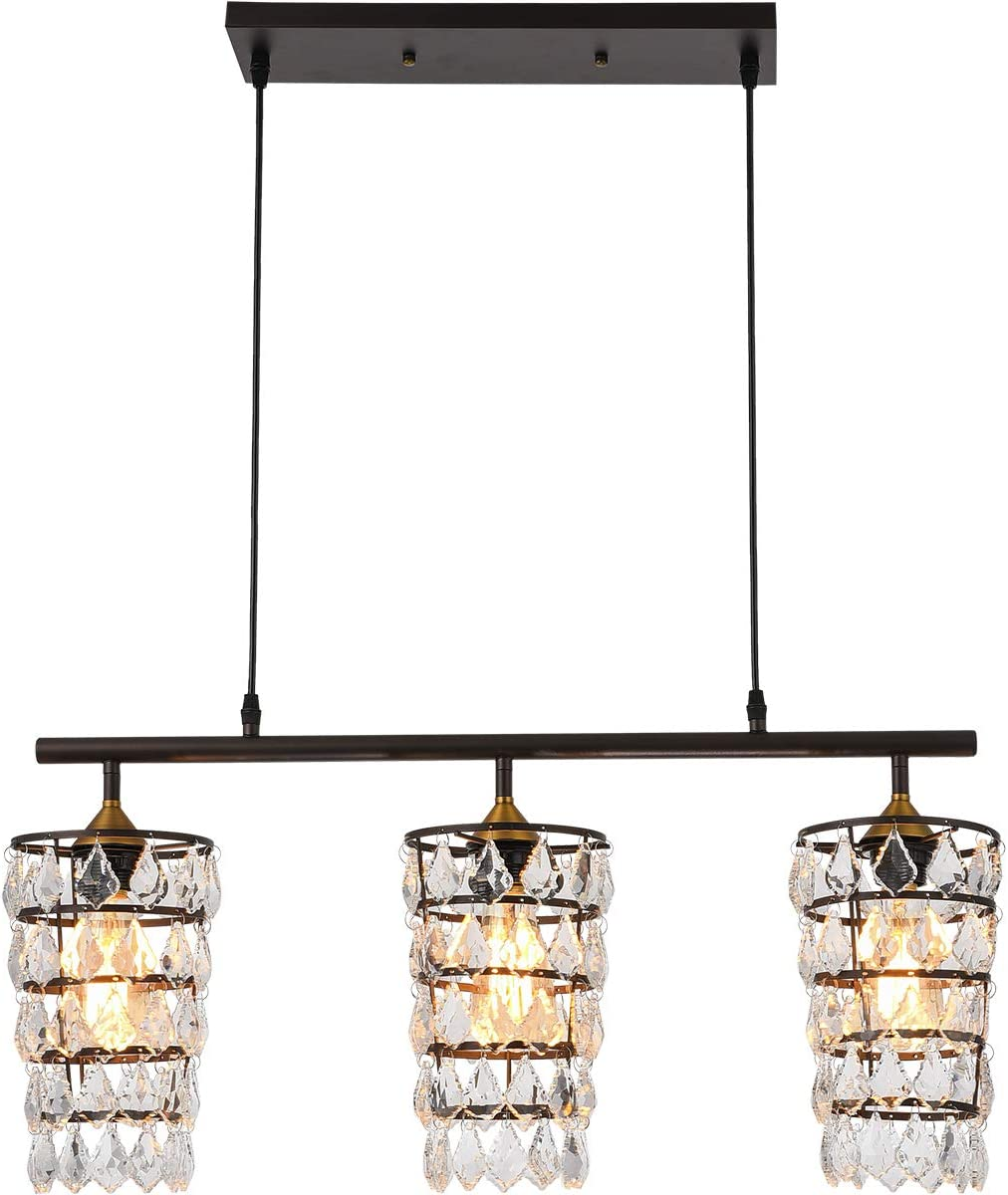SEEBLEN Crystal Chandeliers Brown Finish Pendant Light with Ajustable Cord 3 Light Glass Beads Hanging Ceiling Light Fixtures