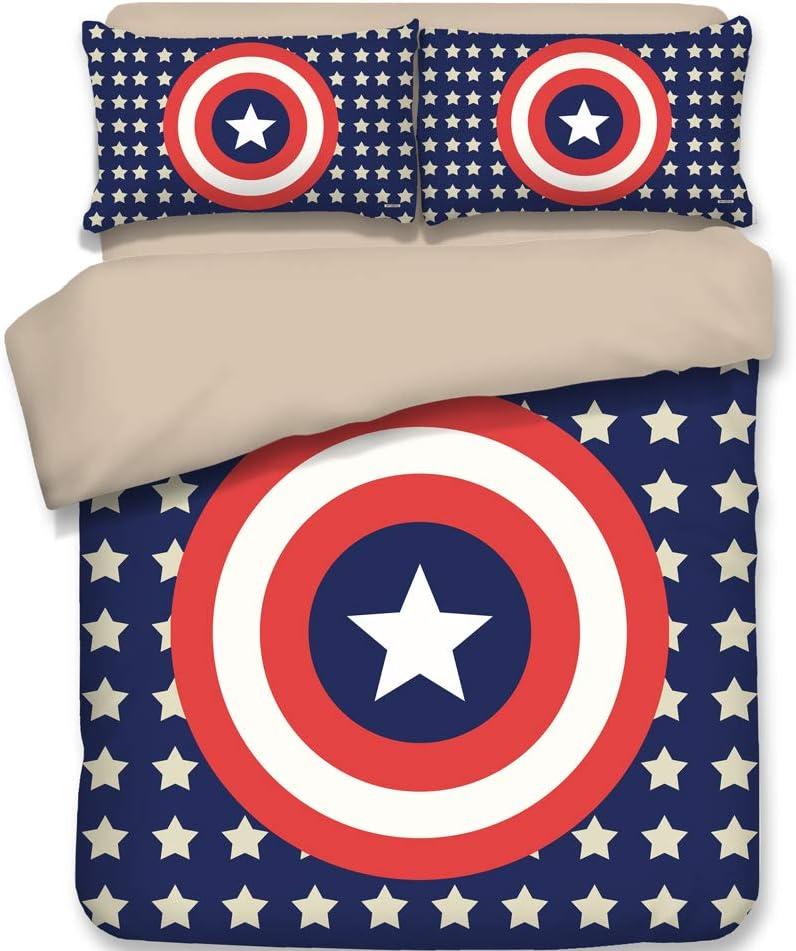 3D Captain America Duvet Cover 3PC,1Duvet Cover, 2Pillowcases ( No Comforter Inside )