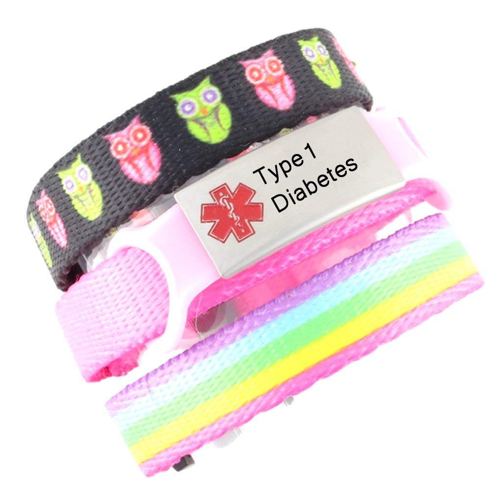 3 Bracelet Value Pack | Type 1 Diabetes, Medical Alert Bracelets | Choice of Fun Designs | Adjustable up to 6.5'' Wrist Size | Medical ID Bracelets | Hoot & Rainbow