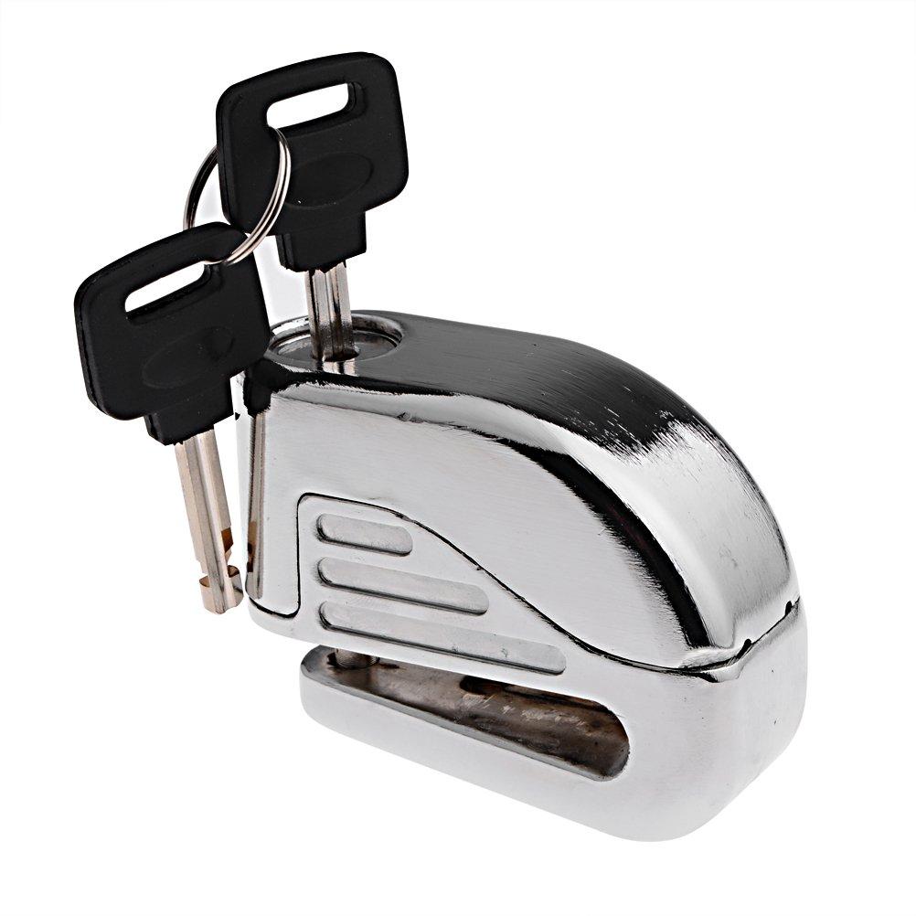 Anti thief sound security alarm electron disc brake lock 6mm pin for motorcycle motorbike safety sport racing bike silver