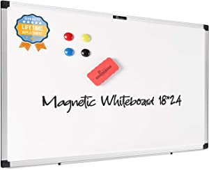"""juujee Magnetic Dry Erase Board 18""""x24"""",Magnet Board for Wall with Pen Tray,Whiteboard Aluminum Damp Proof Frame, for Office, School, Accessories Include 2 Markers,4 Whiteboard Magnets,1 Eraser…"""